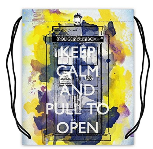 Keep Calm and Pull to Open Print Polyester Fabric Basketball Drawstring Bags Drawstring Tote