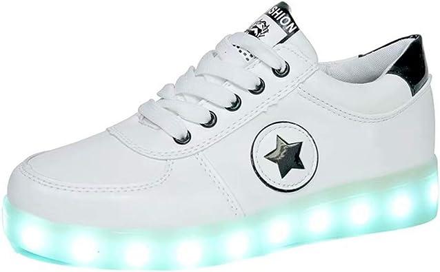 Zapatos Led Niños Niñas Negras Blanco 7 Color USB Carga LED Zapatillas Luces Luminosos Zapatillas Led Deportivos para Hombres Mujeres la Fiesta de Baile de Navidad de San Valentín: Amazon.es: Zapatos y