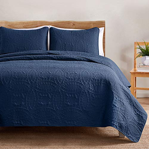 VEEYOO Bedspread Quilt Set - Soft Microfiber Lightweight Coverlet Quilt Set for Summer, Bedspreads King/Cal King Size (1 Quilt, 2 Pillow Shams), Navy Blue