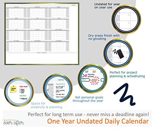 HEA Large Dry Erase Wall Calendar 2019 58'' x 48''   Premium New Laminate   Blank Undated, Reusable & Erasable 12 Month Annual Planner   Classroom, Fiscal Year, Office, Project & Family Schedule by Happily Ever After (Image #4)