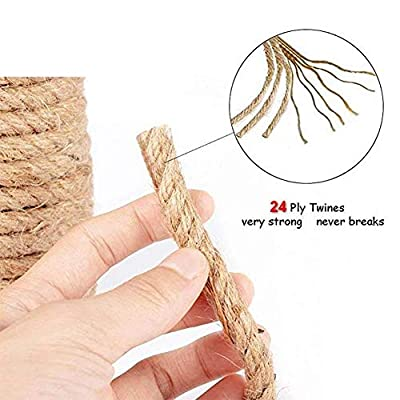 100% Natural Strong Jute Rope 164 Feet 1/4 Inch Hemp Rope String Twine for Crafts DIY Decoration Gift Wrapping