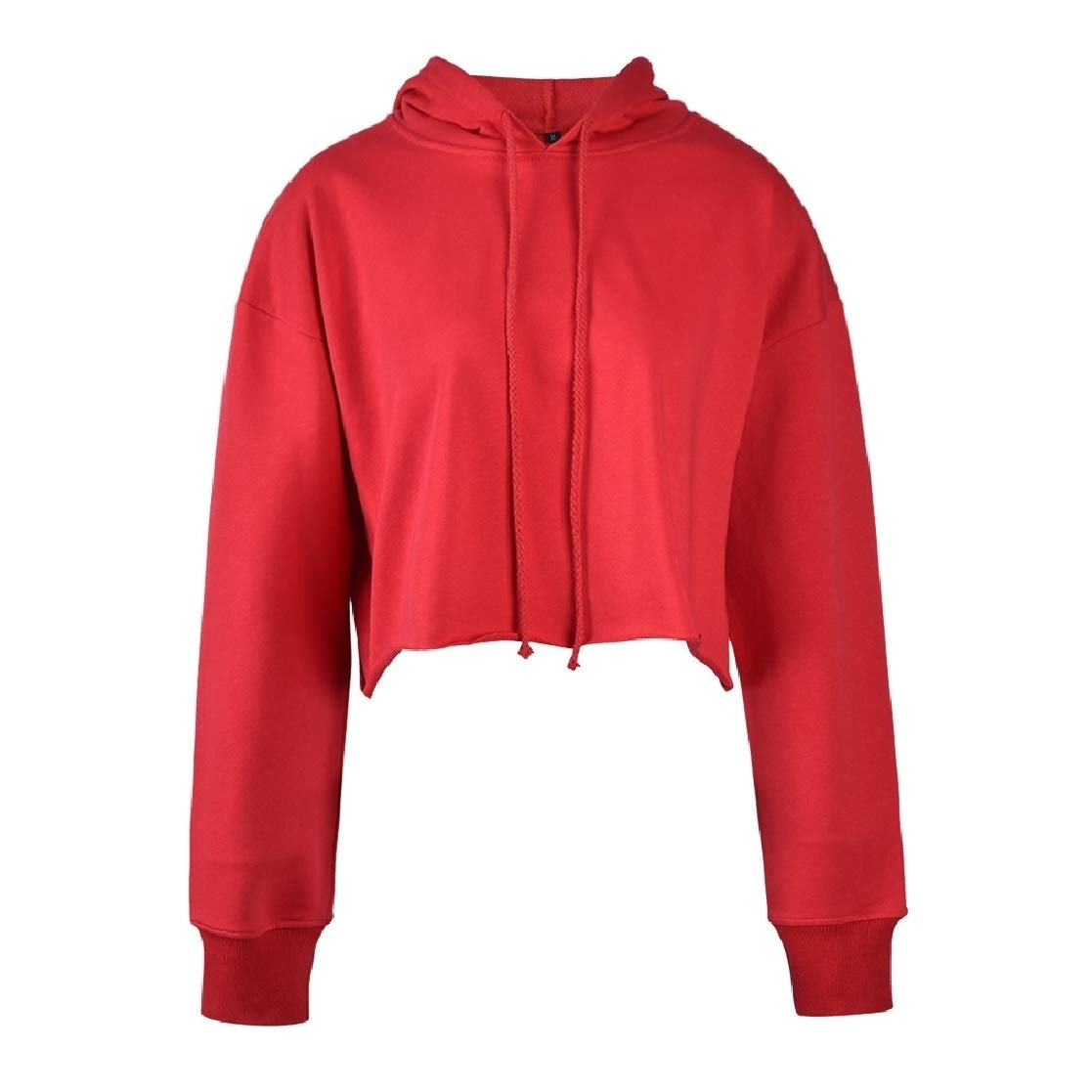 YUNY Womens Solid Mini Hooded Cropped Pullover Loose Sweatshirts Top Red S
