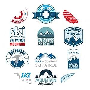 alfombrilla de ratón Conjunto de divisas de la montaña de la patrulla de esquí y parches logo. illus - ronda - 20cm