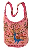 Pink Cotton Peacock Embroidery Bohemian / Hippie Sling Crossbody Bag India, Bags Central