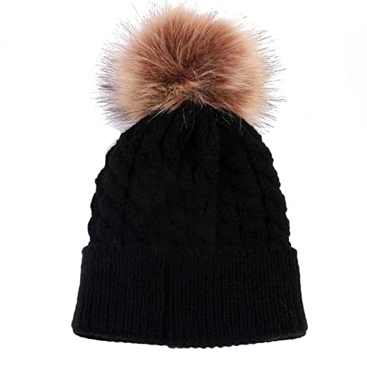 cd77f4ccae6 Amazon.com  Yamalans Newborn Baby Toddler Fashion Winter Warm Furry Ball  Top Cable Knitted Hat Cap  Clothing