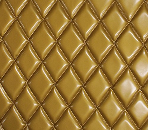 (Vinyl Patent Quilted Foam Matte Dull Gold Fabric 2