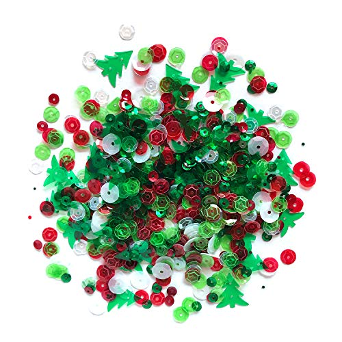 Loose Bulk Cupped Sequins for DIY Arts Crafts Projects Christmas Mix Assorted Sizes 100 Grams 8000 Pieces