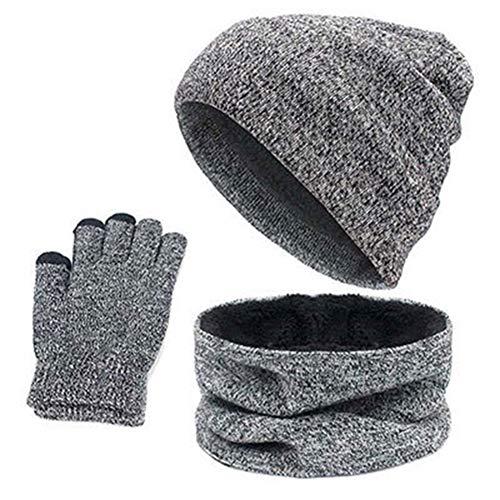 scaldacollo scaldacollo invernale grigio Cappellino maglia chiaro a da e lavorato uomo con dzHHq10Fx