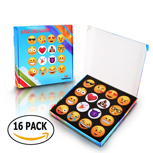 School Age Refrigerator - Emoji Fridge Magnets For Kitchen Refrigerator - Funny Emoji Magnets for Dry Erase, Office Whiteboard, Kids Locker Door Decorations – Magnetic Accessories,Supplies,Gifts for Home Decor, 16pc Set