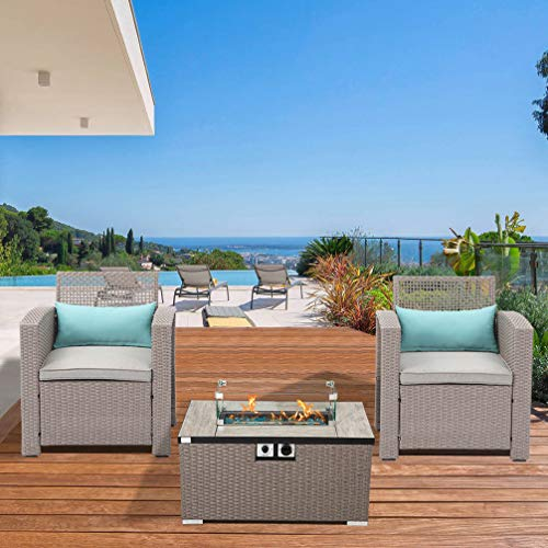 Outdoor 3-Piece Patio Furniture w Propane Fire Pit, Pearl Gray Weave Wicker Armchair w 32-inch Wicker Rectangle Rattan 40,000 BTU Fire Table w Glass Wind Guard, Fits 20 gal Tank Outside