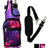 BlankIt! Concepts Kisa Water Bottle Holder Carrier Flask Bottles Adjustable Shoulder Hand Strap 2 Pocket Sling Neoprene Sleeve Hiking Travel 16oz 17oz 20oz 24oz 25oz 32oz 40oz (Galaxy)