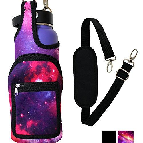 BlankIt! Concepts Kisa Water Bottle Holder Carrier Flask Bottles Adjustable Shoulder Hand Strap 2 Pocket Sling Neoprene Sleeve Hiking Travel 16oz 17oz 20oz 24oz 25oz 32oz 40oz (Galaxy) ()
