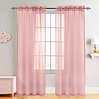 Amazon.com: Miuco 2 Panels Grommet Textured Solid Sheer Curtains 84 ...