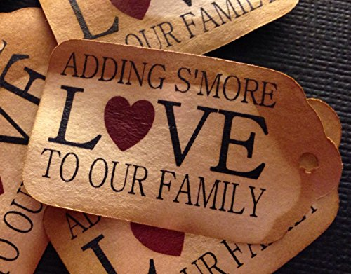 Adding S'More Love to our family (my SMALL size) Tea Stained Favor Tag sets of 50 Tags smore love 1 1/8