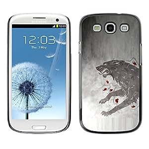KLONGSHOP // Cubierta de piel con cierre a presión Shell trasero duro de goma Protección Caso - GOT Lobo - Samsung Galaxy S3 //