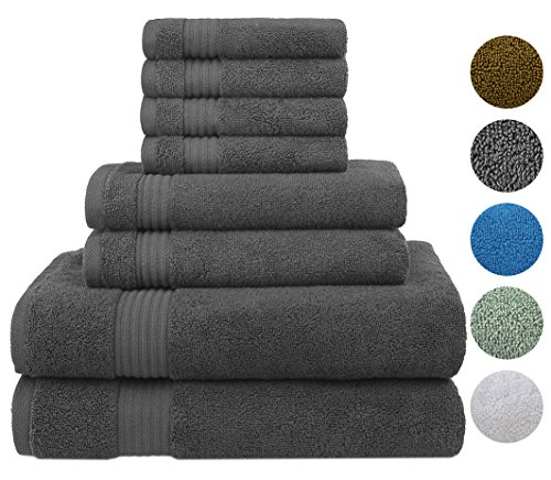 Cotton Paradise Ultra Soft 8 Piece Towel Set, 100% Combed Cotton Absorbent and Eco-Friendly - 2 Oversized Large Bath Towels 30x54, 2 Hand Towels 16x30, 4 Wash Cloths 13x13(Charcoal Grey)