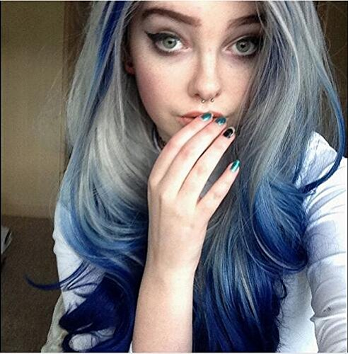 Heat Resistant Fiber Hair mermaid ombre blue grey to blue body nature wave Synthetic lace front wig for women