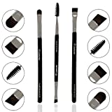 Eyebrow Brush Set - Duo Eye Brow Spoolie - Angled Eyeshadow Eyeliner - Precision Flat Definer - Small Shader - Premium Quality 3 Piece Set - Cruelty Free Synthetic Bristles - Apply Gel Powder Wax Pomade