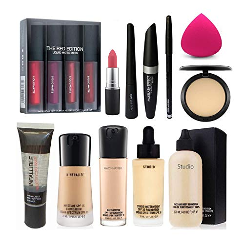 Combo Set Of Compact, 2 Lipstick, Foundation Brush, Eyelashes, Sponge, Conceller, Minerlize, Face Foundation, Primer…