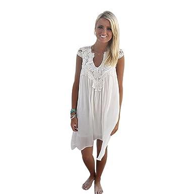 Elecenty Damen Ärmellos Strandkleid Boho Sommerkleid,Rock Mädchen  V-Ausschnitt Lose Kleider Frauen Solide Chiffon Spitzekleid Kleid Minikleid  Kleidung ... 6eeb247d29