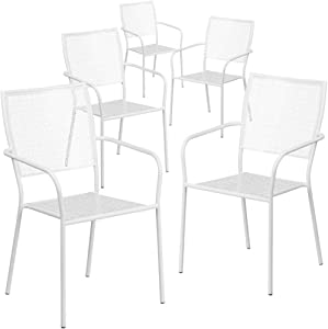 Flash Furniture Commercial Grade 5 Pack White Indoor-Outdoor Steel Patio Arm Chair with Square Back