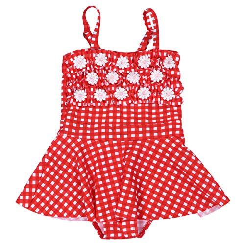 One Piece Swimsuit Little Girls Cold Shoulder Tankini Flower Swimwear Beach Dress