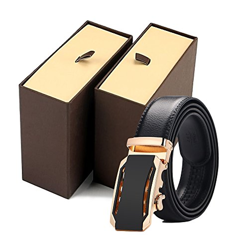 Iztor Men's Belts Leather Ratchet Dress Belt with Automatic Buckle 1 3/8'' Wider for from 20'' to 43'' Waist by iztor (Image #6)