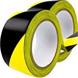Double-Roll of Ultra-Adhesive, Black & Yellow Hazard Tape for Floor Marking 2 Pack. Mark Floors & Watch Your Step Areas for Safety with High-Visibility, Anti-Scuff Striped Vinyl by Nova Supply