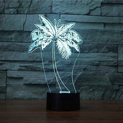 3D Palm Tree Night Light Touch Table Desk Optical Illusion Lamps 7 Color Changing Lights Home Decoration Xmas Birthday Gift (Tree Palm Desk Lamp)