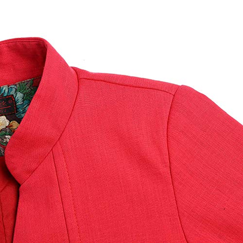 Mujer Slim Primavera Abrigos Fit Estilo Battercake Classic Botonadura Manga Parka Casuales Floreadas Larga Gabardina Outerwear Rojo Elegante Largos Fashion Chino Otoño Mujeres Chaqueta d00qY7