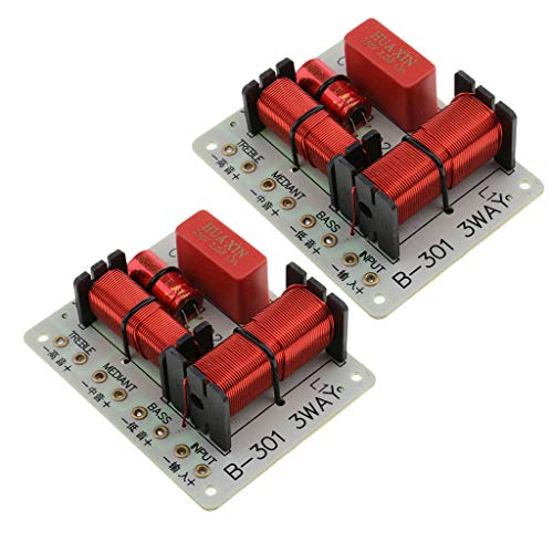 Baosity 2 Pieces B-301 Treble Bass 3 Way Frequency Divider Speaker Audio Crossover Filters Board DIY