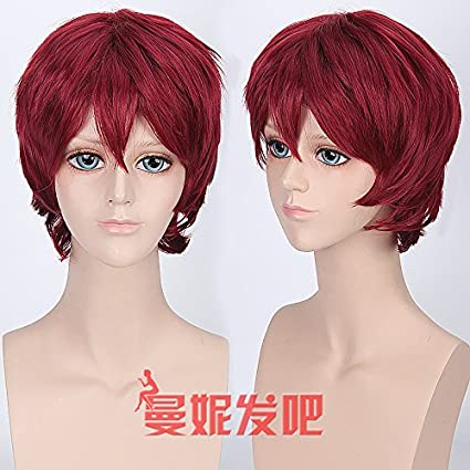 WIAGHUAS Anime Wig Male Short Hair Holiday Plata Azul Púrpura Naranja Naranja Peluca Multicolor Opcional,