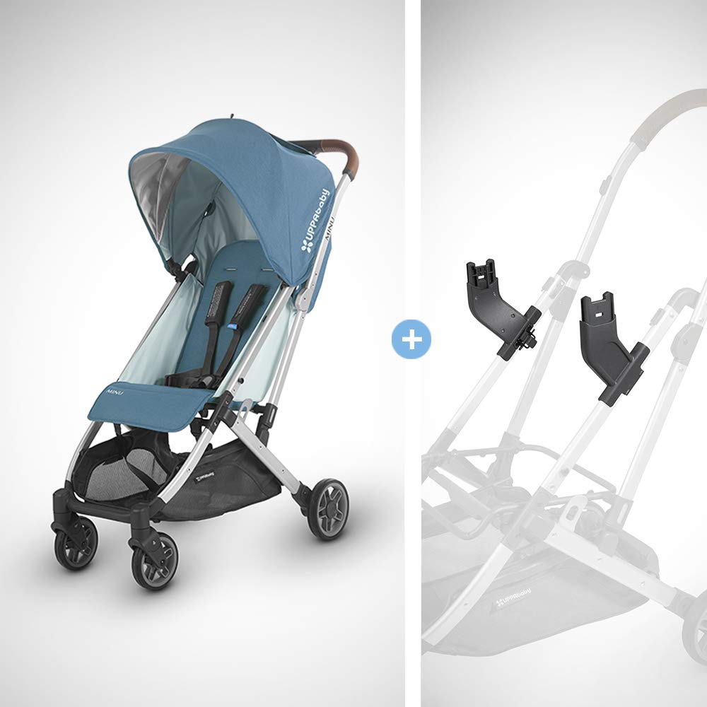 UPPAbaby MINU Stroller + MESA Adapter - Ryan (Teal Melange/Silver/Saddle Leather) by UPPAbaby