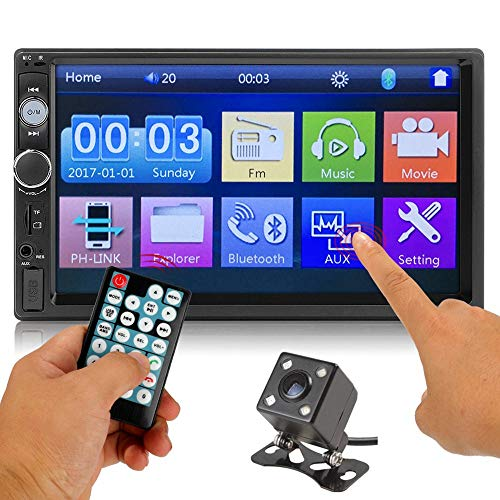 """Carzin 7"""" Double Din Touchscreen in Dash Stereo Car Receiver Audio Video Player Bluetooth FM Radio Mp3 / TF/USB / AUX-in/Wheel Controls/Remote Control + Rear View Camera"""