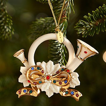 - Holiday Gems French Horn Ornament by Lenox