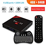 [Android TV Box 4G 64GB+Backlit Wireless Keyboard] EstgoSZ Android 7.1 Smart TV Box RK3328 Support 2.4G/5G Dual Wifi/100M LAN/BT 4.0 /H265/3D 4K UHD TV EstgoSZ