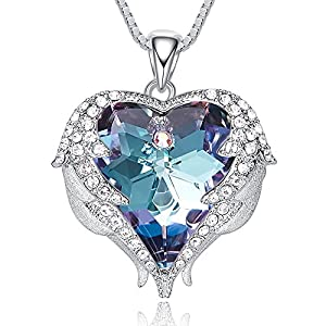CDE Angel Wing Pendant Necklace White Gold Plated Women Jewelry Heart of Ocean Made with Swarovski Crystals Necklaces, Gifts for Valentine's Day