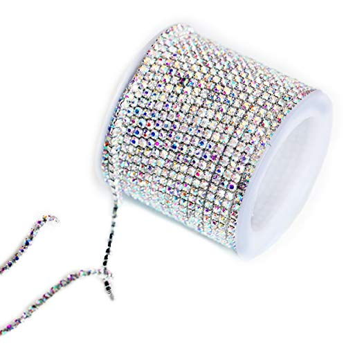 (BLINGINBOX Rhinestones Chain 10 Yards SS6/2mm Crystal AB Glass Sew On Rhinestones Cup Chain With Silver Bottom Sew On Trim(ss6-2mm, Crystal AB-Silver Bottom))