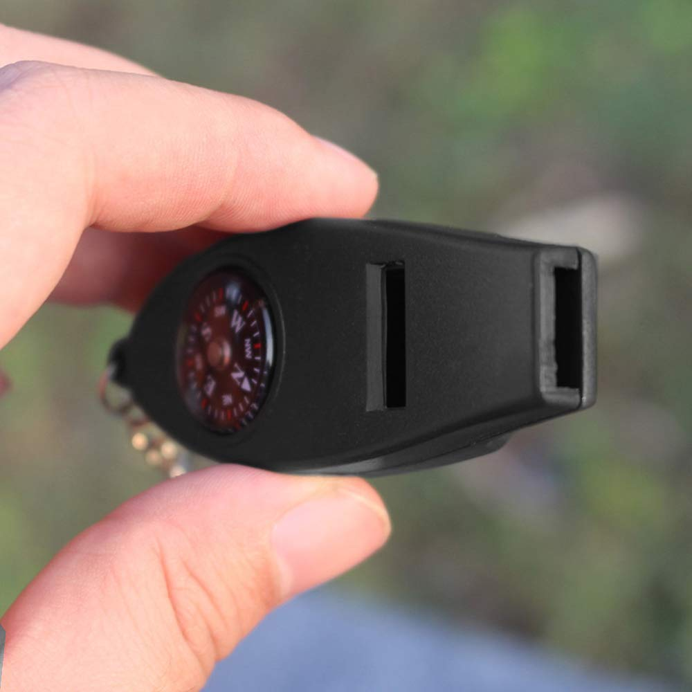 Lixada Trillerpfeife Multifunktions 4-in-1 Sicherheitspfeife Kompass Thermometer Lupe mit Schl/üsselbund Not/überlebens Kits