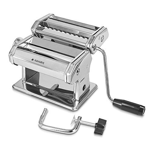 Navaris Pasta Maker - Manual Pasta Machine Noodle Roller Cutter Steel Hand Crank...