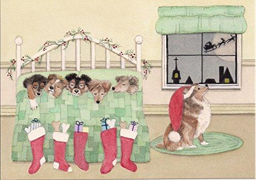 12 Christmas Cards: Christmas cards: Shetland sheepdog (sheltie) family waits for Santa on Xmas eve / Lynch folk art