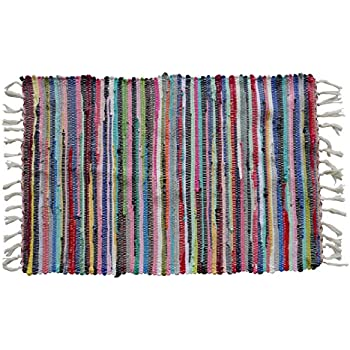 Uniifurn Color Stripe Rag Rugs For Kitchen, Bathroom, Entry Way, Laundry  Room (
