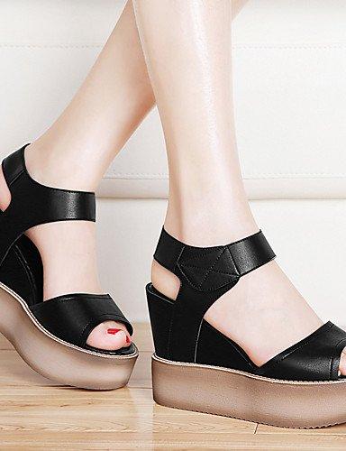 LFNLYX Zapatos de mujer-Plataforma-Punta Abierta / Creepers-Sandalias-Oficina y Trabajo / Vestido / Casual / Fiesta y Noche-Sintético-Negro / gray