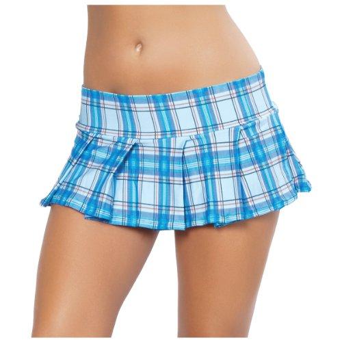 Skirt, Baby Blue Plaid, Medium/Large (Plaid Micro Mini Skirt)