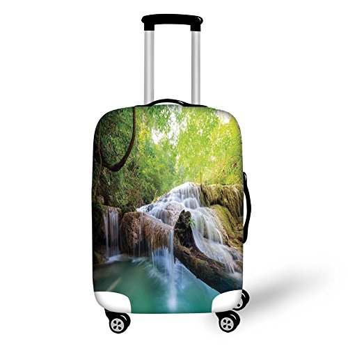 Travel Luggage Cover Suitcase Protector,Waterfall,Landscape with Flowing Water of Erawan Cascade in Rain Forest,Light Green Turquoise Brown,for Travel