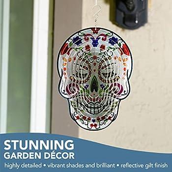 "6/"" SUGAR SKULL Wind Spinner Crystal Tail Set Garden Decor 2 Designs Colours NEW"