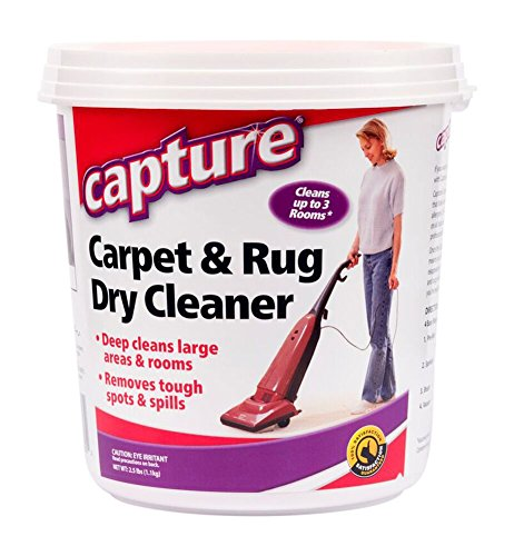 Dry Carpet Cleaning Kit - Capture Carpet Dry Cleaner Powder 2.5 Pound - Resolve Allergens Stain Smell Moisture from Rug Furniture Clothes and Fabric, Mold Pet Stains Odor Smoke and Allergies Too