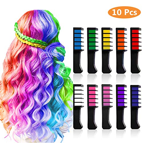 MSDADA Temporary Bright Hair Chalk Set, Presents For Girls Of All Ages. Washable Color, for Kids Hair Dyeing Party,Cosplay,Birthday(10 Colors)
