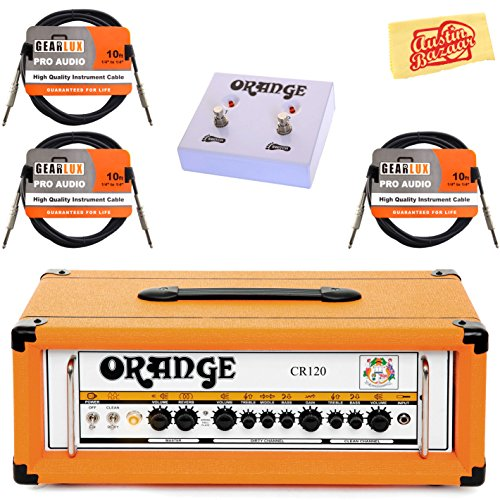 Orange CR120H Crush Pro 120 Guitar Amplifier Head Bundle with Orange FS-2 Footswitch, Instrument Cables, and Austin Bazaar Polishing Cloth by Orange