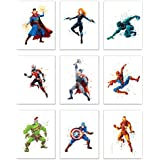 Superhero Avengers Infinity War Watercolor Poster Prints - Set of Nine 8x10 Wall Art Photos - Black Panther - Captain America - Iron Man - Thor - Spiderman - Ant Man - Black Widow - Doct